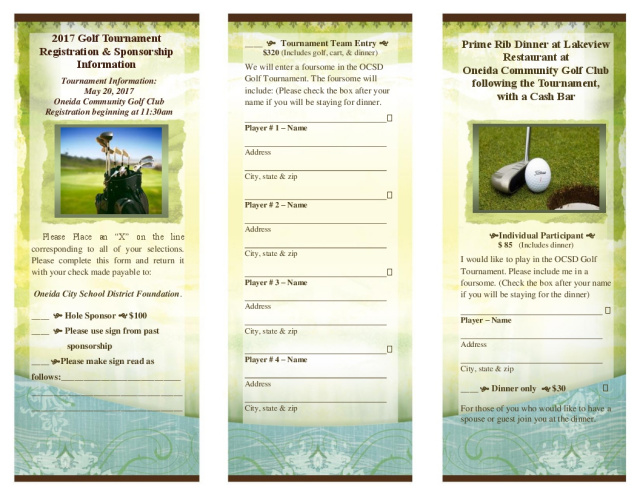 Golf Tournament Oneida NyOcsd Foundation Golf TournamentOneida